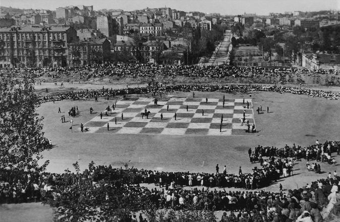 Ajedrez en vivo. principios del Estadio en 1924