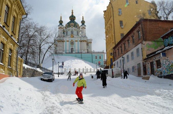 Snowboard en la Bajada Andreevsky. Foto: Наталия Колисниченко