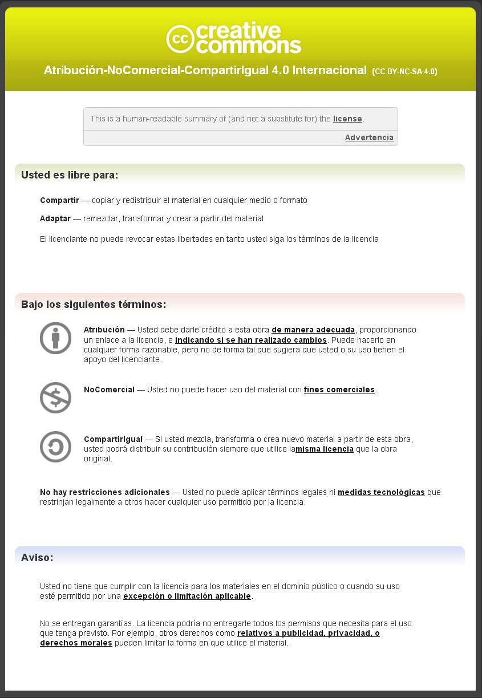 Licencia Creative Commons CC BY-NC-SA 4-0