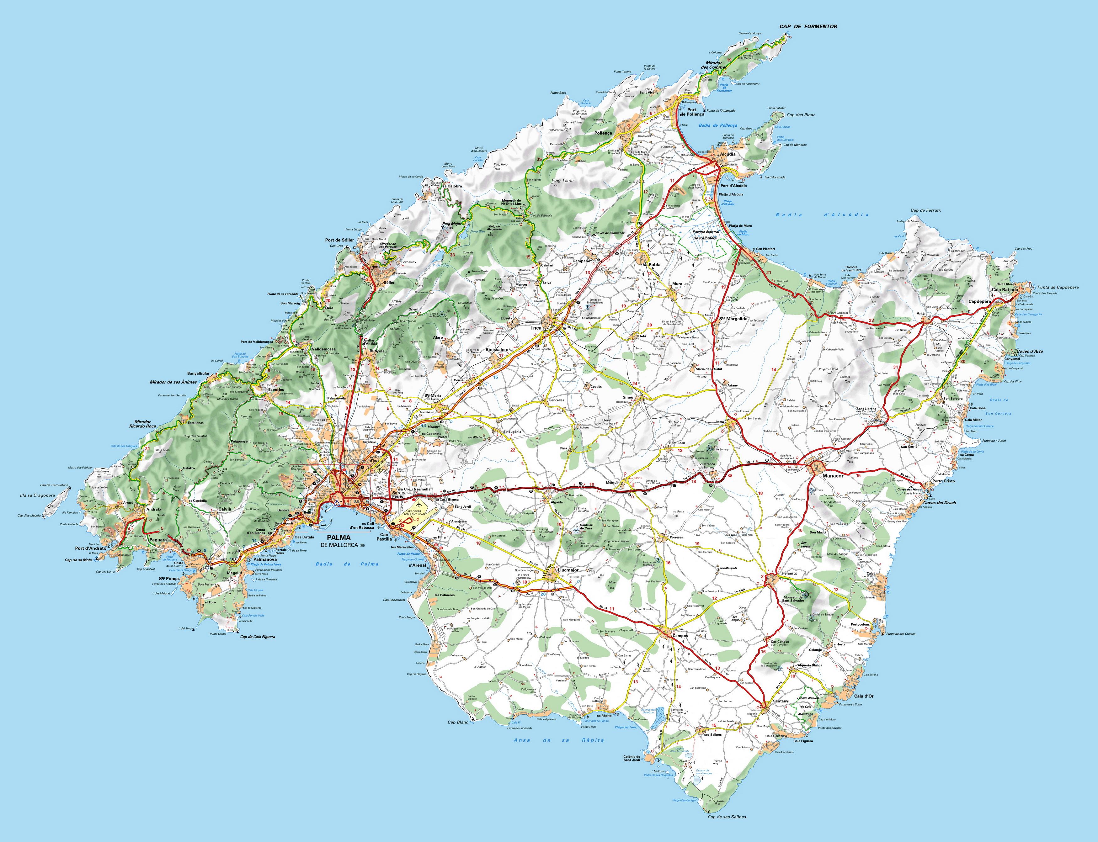 Mapa Mallorca Carreteras Al Sur De Un Horizonte