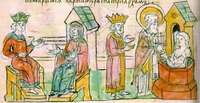 Olga de Kiev en Constantinopla. Con Constantino VII y su bautismo