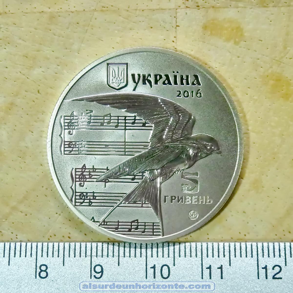 Ucrania. Moneda del centenario del villancico Shchedryk o Carol of the bells