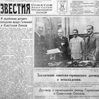 24 de agosto de 1939. Periódico IZVESTIA. Noticia de la Firma del Tratado de No Agresión germano-soviético del día 23.