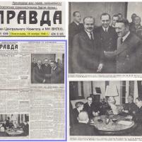 18.11.1940 – PRAVDA: Estancia del Presidente del Consejo de Comisarios de la URSS y Comisario del Pueblo de Relaciones Exteriores, el camarada V. M. Mólotov en Berlín.En la foto: V.M.Mólotov y el Sr. A. Hitler en la nueva Cancillería Imperial.