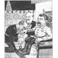 """Caricatura del periódico polaco """"Fly"""", 8 de septiembre de 1939. """"Hemos firmado el pacto por usted, Ribbentrop. Usted nos besa, acepta el pacto y lo que haremos a continuación, lo pensaremos""""."""