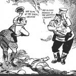 """David Low . 20 de septiembre de 1939. Hitler: """"¿La escoria de la tierra, creo?"""" Stalin: """"¿El maldito asesino de trabajadores, supongo?"""""""