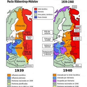 División planificada según el pacto Ribbentrop-Mólotov y división real. Obra derivada de Peter HanulaTranslator: Aibdescalzo.