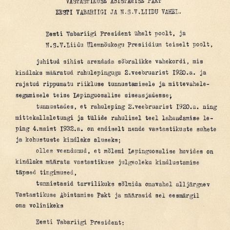 28 de septiembre de 1939 - Acuerdo de Asistencia Mutua entre la URSS y Estonia, firmado por V. Mólotov y K. Selter.