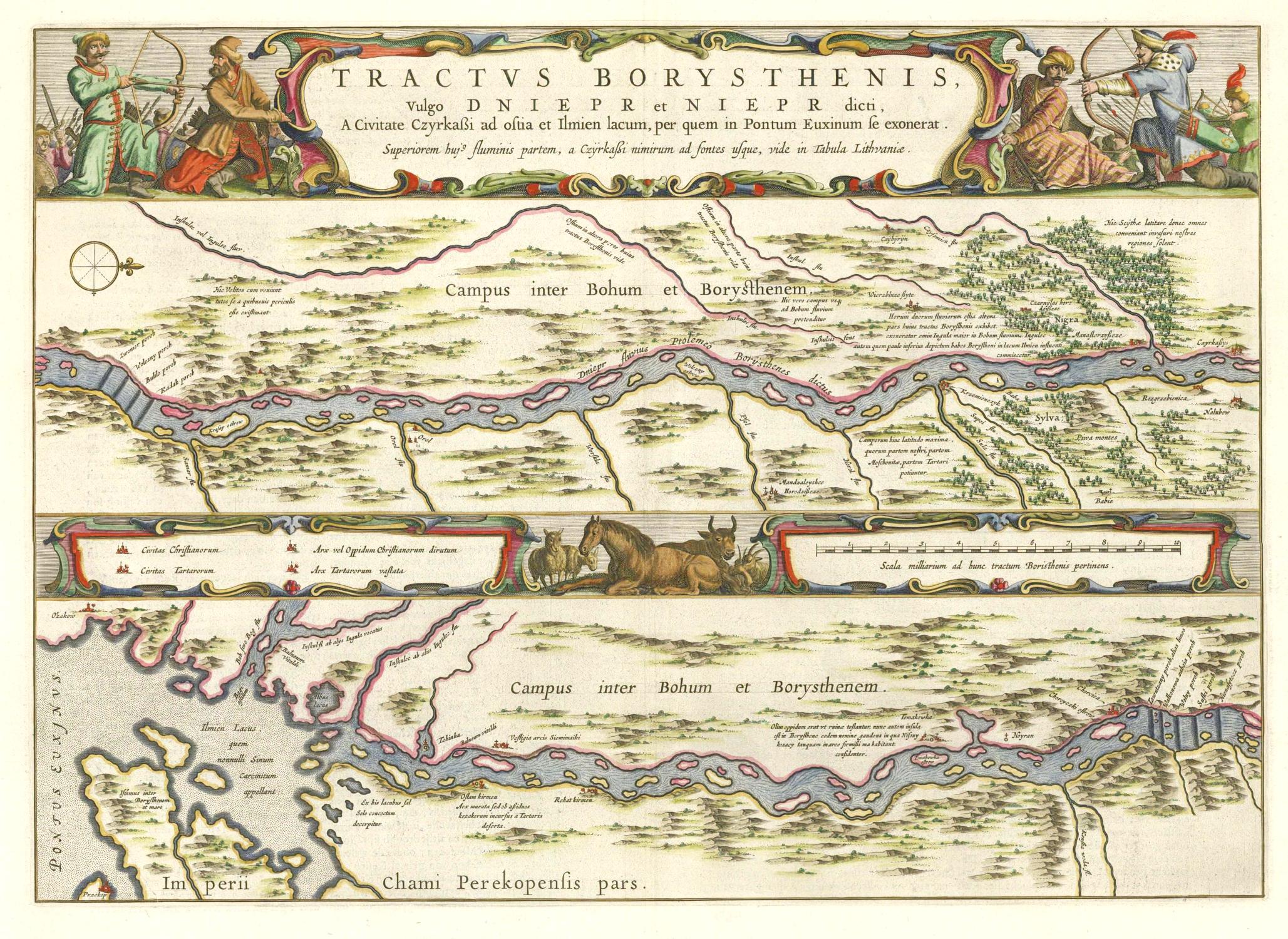 Johannes Blaeu (Amsterdam). Atlas Maior. Muestra el curso del Dniéper desde Cherkasy hasta la desembocadura del Mar Negro.