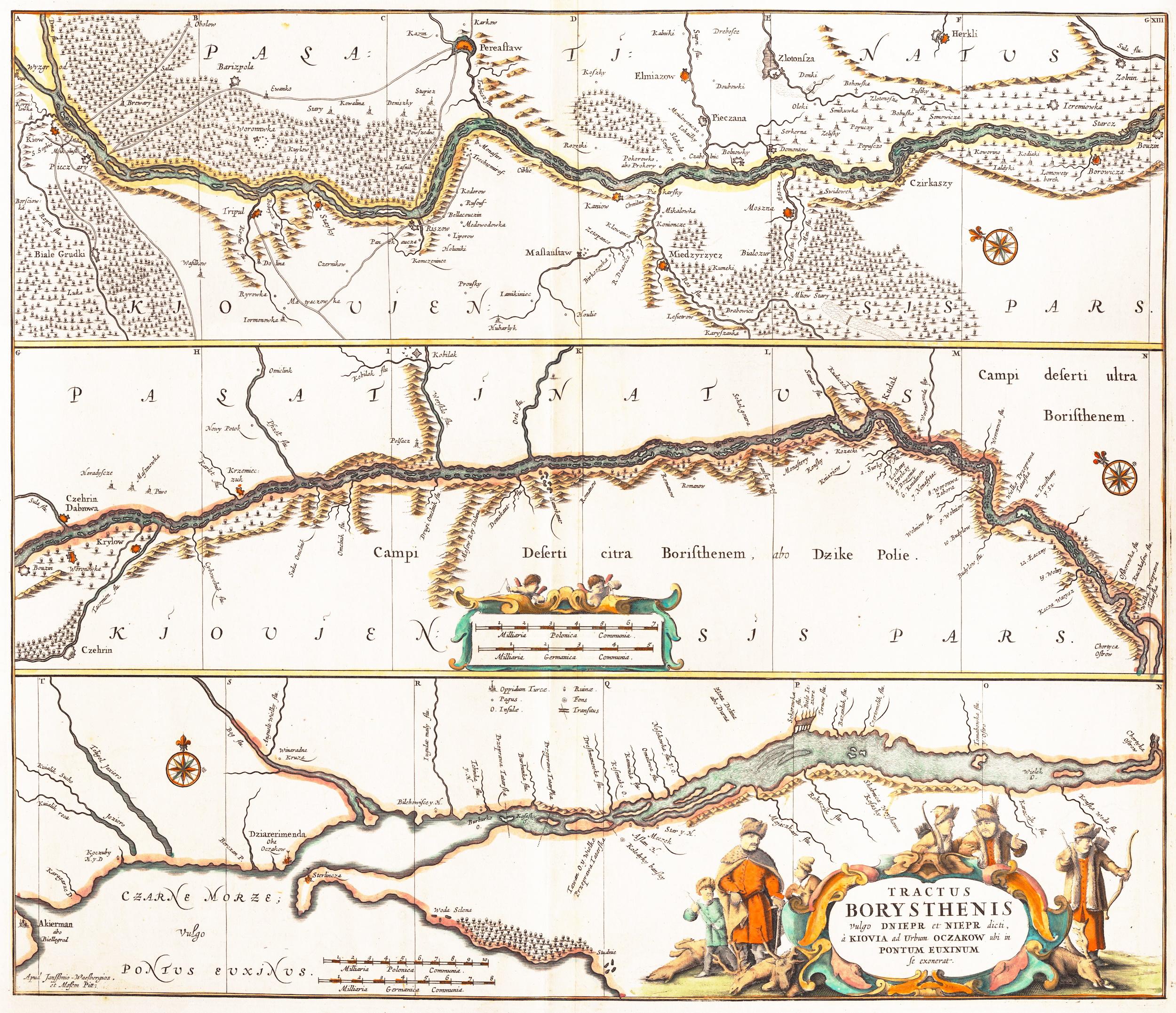 1680 - TRACTUS BORYSTHENIS vulgo DNIEPR et NIEPR dicti, à KIOVIA ad Urbum OCZAKOW, Moses Pitt (Oxford)